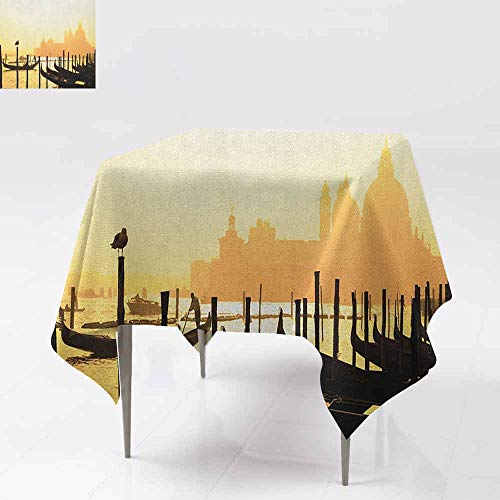 DUCKIL Polyester Tablecloth Romantic Italian City at Sunrise Line of Gondolas Lagoon and Basilica Silhouette Indoor Outdoor Camping Picnic W70 xL70 Mustard Black
