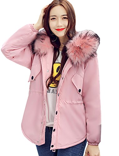 COMVIP Women Winter Mid-length Hoodies Outdoor Cotton-padded Jackets Pink