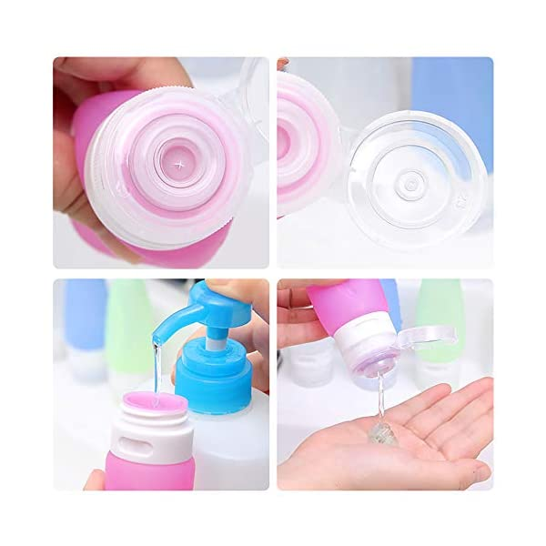 Set da Viaggio Aereo, Contenitori Liquidi Silicone Bottiglia per Shampoo, Balsamo, Crema, Lozione (4 Silicon Bottle + 2 Jar + 2 Tappo Spazzolino + 1 PVC Pochette) 3 spesavip