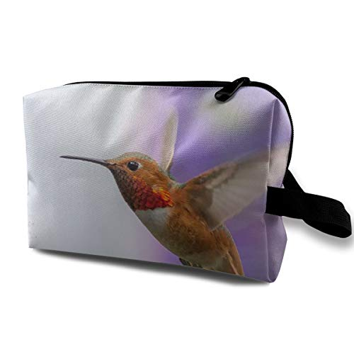With Wristlet Cosmetic Bags Hummingbird With Long Mouth Travel Portable Makeup Bag Zipper Wallet Hangbag