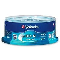 Verbatim BD-R Disco de medios grabable en Blu-ray de 25GB y 6X - Paquete de 25 ejes