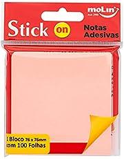 Bloco de Notas Adesivas Neon, Molin, 23301, 76 cm x 76cm Bl. c/ 100 Fls. Rosa