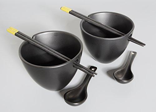 Nudelschale / Reisschale / Reisschüssel / Suppenschale / Essstäbchen / Löffeln / Schalen Set 6-teilig aus Keramik/Bambus in schwarz