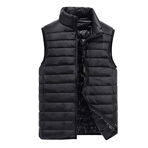 Ultralight Ghillie (Henraly Men's Sleeveless Ultralight 90% White Duck Down Warm Vest Men's Casual Jacket Outwear,XXX-Large,Black)