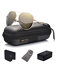 LUENX Mens Womens Aviator Sunglasses Polarized with Case - UV 400 Protection 60mm