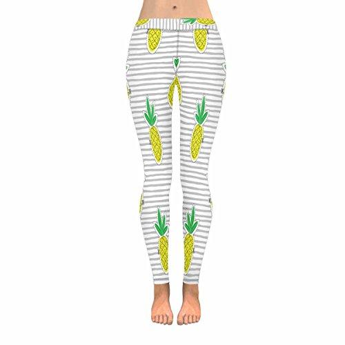 INTERESTPRINT Fashion Pineapple Juicy Fruit on Stripes Women's Stretchy Capri Leggings Yoga Running Pant -