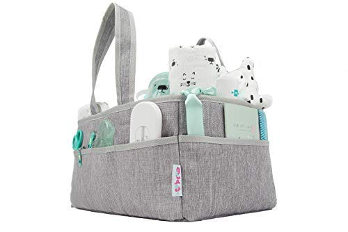 ganizer with Bonus Changing Pad | Nursery Storage Tote Bin for Baby Shower & Essentials Organizer | Large Portable Basket for Changing Table & Car Travel Caddy by O'Ploo, Grey ()
