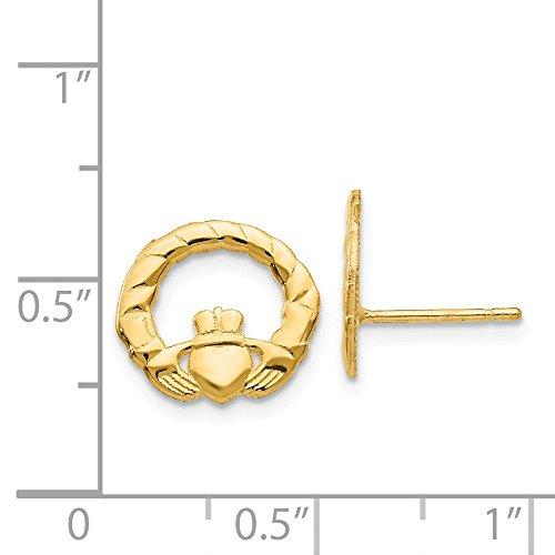 (14k Yellow Gold Claddagh Post Earrings (0.4IN x 0.4IN))