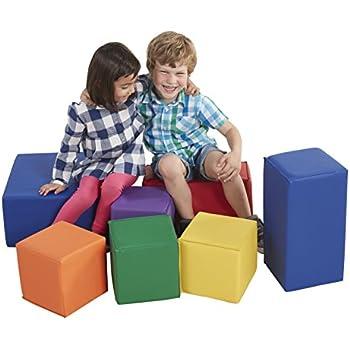 ECR4Kids SoftZone Foam Big Building Blocks, Soft Play for Kids, Phthalate-Free Big Blocks, Primary Preschool Learning Toys, Toddler Learning Toys, Baby Learning Toys, Stacking Blocks, 7-Piece Set