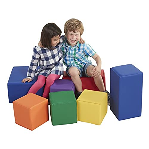 ECR4Kids ELR 0832 Softzone Foam Big Building Blocks, Soft Play Set For  Kids, Primary (7 Piece)