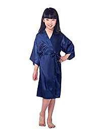 Little Kids Girls Satin Flower Girl Kimono Robe Junior Bridesmaid Child Bathrobe