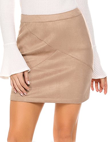 Genuine Suede Leather Skirt - Zeagoo Women Classic High Waisted Faux Leather Bodycon Slim Mini Pencil Skirt,Large,Camel