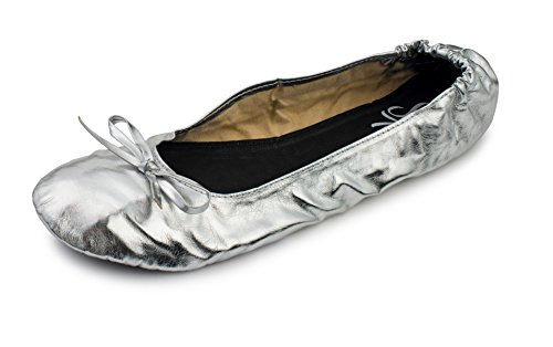 Women's Foldable Portable Travel Ballet Flat Roll Up Shoes with Matching Carrying Pouch (Small, Silver)