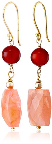 Agate Orange Silver (Gold-Plated Sterling Silver, Orange Chalcedony, and Botswana Agate Earrings)