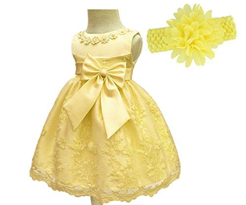 H.X Baby Girls Newborn Bowknot Gauze Christening Baptism Wedding Dresses 2 Color (Yellow, 3M/0-5 (Yellow Gauze)