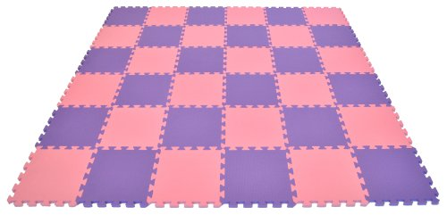 Non-Toxic Fairy Tale (Pink & Purple) Interlocking Non-Recycled Quality Waterproof foam Anti-Fatigue Wonder Mats: 36 Pieces at 12″ X 12″ X ~9/16″ Extra Thick Review