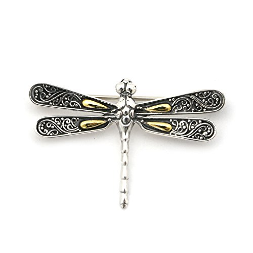 Phillip Gavriel 18k Yellow Gold and Sterling Silver Dragonfly Brooch