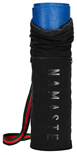 Masaya - Namaste Yoga Mat Bag Drawstring Carrier - Long Breathable Canvas Yoga Sling - Fits All Size Mats - Deep Front Pocket w/ Hidden Secret Pocket (Deep Front Pocket)