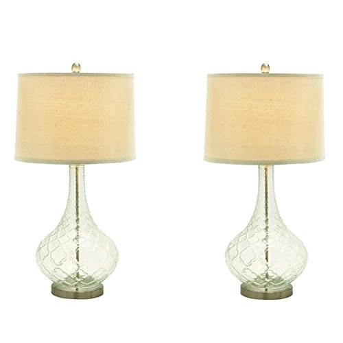 Urban Designs Euro Glass Table Lamp (Set of 2), Clear