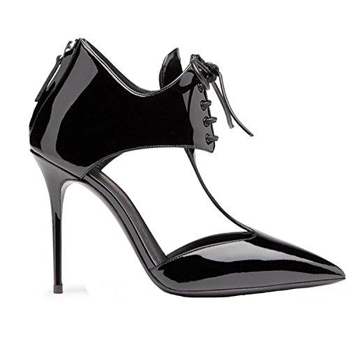 Arc-en-ciel zapatos de mujer en punta T-correa de la bomba de tacón alto Negro