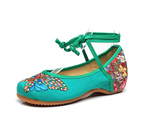 Shoes Shoes Women's Embroidered Espadrilles Shoes Shoes Green and Cattle Flats Dance Shoes Ballet t8qU4FR8
