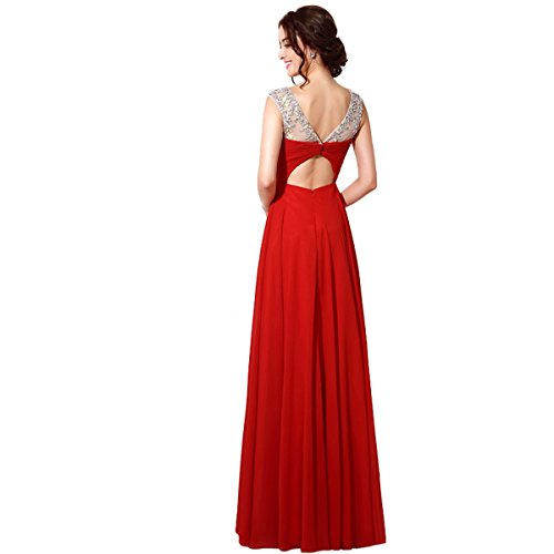 Favebridal 2015 Women's Red Tulle Long Evening Prom Gown Dresses SD196-US8