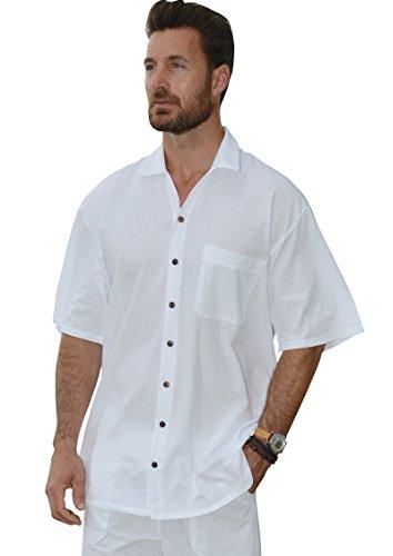 Cotton Natural Islander Button Down Short Sleeve Men's Shirt (Xlarge, White)
