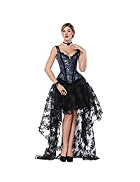 SZIVYSHI Women Gothic Vintage Steampunk Sexy Boned Lace Overbust Satin Shoulder Strap Corset Bustier Top