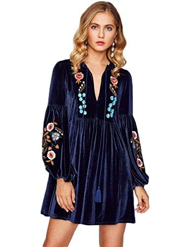 Embroidery Mini Dress (Dickin Women Velvet Dress Lace up V Neck Long Sleeve A-Line Mini Dress Embroidery)