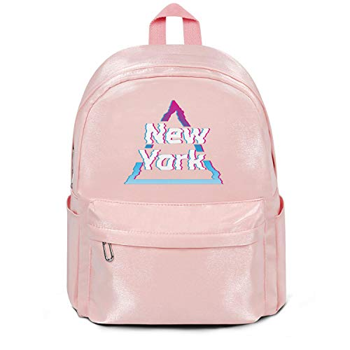 Womens Girl Boys College Bookbag New-York-Wall-Art-Decor- Casual Nylon Water Resistant 13 Inch Laptop Compartment Backpack College Bookbag Pink