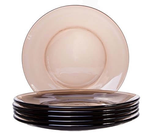 Classic Round Glass Dessert/Appetizer Plates in Taupe Brown, 7.5 Inches - Set of 6 by Red Co.