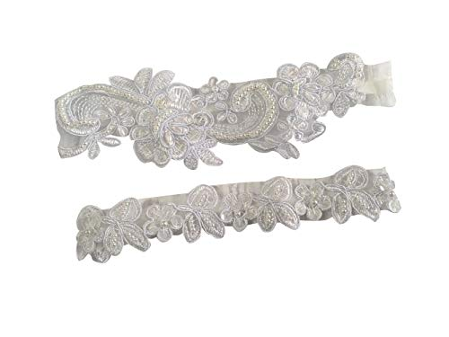 Wedding Set Sequin Pearl - YuRongsxt Wedding Garter Set Sequins Floral Bridal Pearls Garter Set G35 (White)