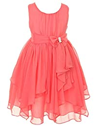 iGirlDress Little Girls Yoryu Chiffon Flower Girl Dress 4 Coral