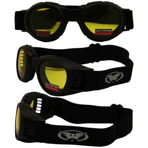 Soft Airy Foam - Paragon Motorcycle Goggles Yellow Tinted Lenses, Frames Will Accommodate Prescription Lenses, Soft Airy Foam for Comfort, Adjustable Vents.