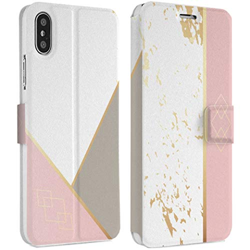 Wonder Wild Geometrical Print IPhone Wallet Case X/Xs Xs Max Xr Case 7/8 Plus 6/6s Plus Card Holder Accessories Smart Flip Clear Design Protection Cover Forms Shapes Order Line Stripes Science New