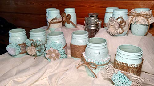 12 Piece Rustic Shabby Chic Mason Jars, Rustic Wedding Vase Centerpieces, Shabby Chic Vase Wedding Centerpieces, Mint/Mystic Sea Distressed Mason Jars