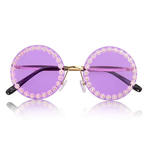 Sunglasses Large Round (Sunny Pro Big Round Sunglasses Retro Circle Tinted Lens Glasses UV400 Protection (Daisy Rhinestone))