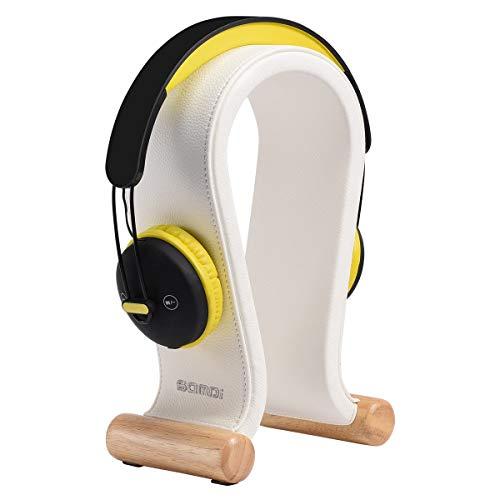 SAMDI Leather Headphone Stand Headset Stand Headphone Holder Universal Gaming Headset Holder - White (Leather Stand White)