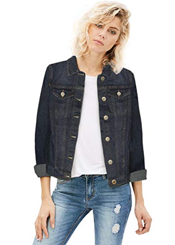 (Women Junior Classic 4 Pockets Denim Jacket JK175592 Dark WASH M)
