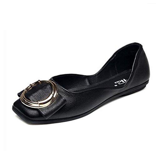 Zapatos de Mujer, Comfort Square Flats, Bombas, Zapatos de Mujer, Pisos con Planos A