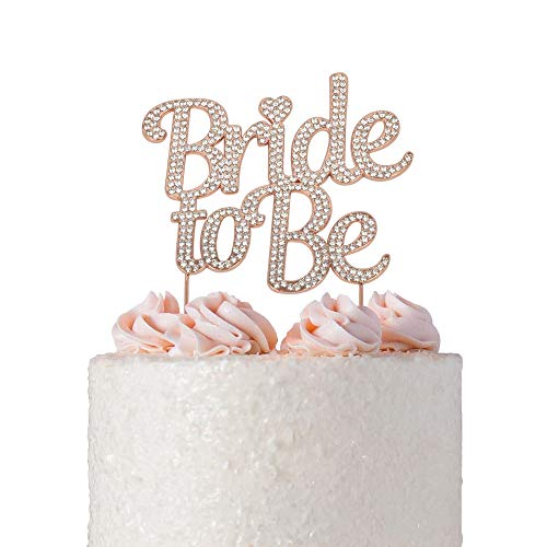 Bride to Be ROSE GOLD Cake Topper | Future Mrs Cake Topper | Sparkly Crystal Rhinestones | Wedding Shower Bridal Shower Bachelorette Party Engagement Hen Party (Bride to Be Rose Gold)