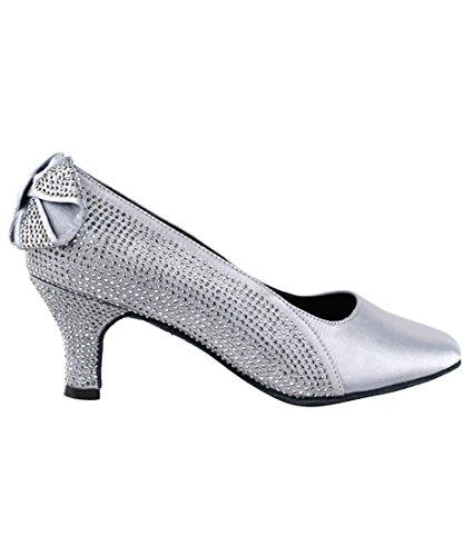 Very Fine Ballroom Latin Tango Salsa Dance Shoes for Women SERA5512 2.5-Inch Heel + Foldable Brush Bundle Grey Satin 1nipK