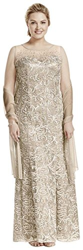 Novelty Plus Size Sleeveless Illusion Neckline Soutache Mother of Bride/Groom… – 14, Champagne