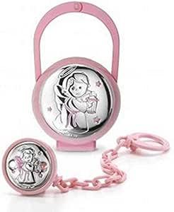 Set caja porta chupete y alfiler niña código PU8524R con placa de plata: Amazon.es: Bebé