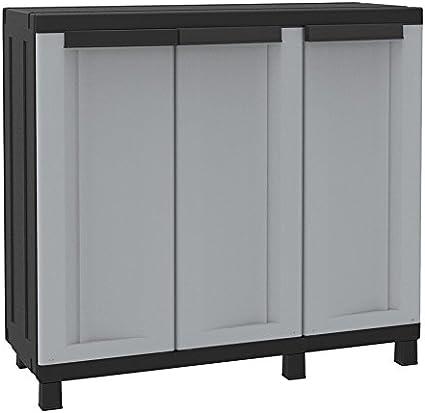 Plástico de armario aparador presupuesto Armario de limpieza para armario con 3 puertas, Gris/Negro – 102 X 39 X 91, 5 cm: Amazon.es: Jardín