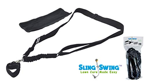 Sling Swing ADJUSTABLE Weed Eater Grass Trimmer Harness Shoulder Strap with Shock Bungee with Quick Detach Swivel, Ambidextrous limb arm tool saver professional weedeater stretch strain garden ()
