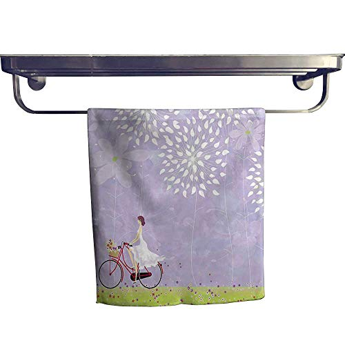 HoBeauty home Absorbent Towel,Riding Bike Windy Weather in The Garden with Grass Art Apple Green White,spa, Gym etc, Strength, high Absorbency and Fast Drying W 12
