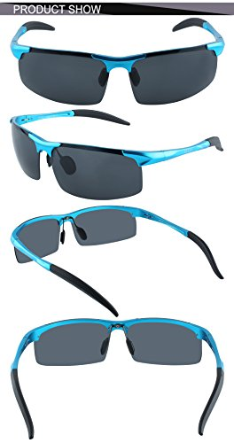 Rayzor Liteweight Black UV400 Sports Wrap Cycling Sunglasses, Blue Iridium Mi...