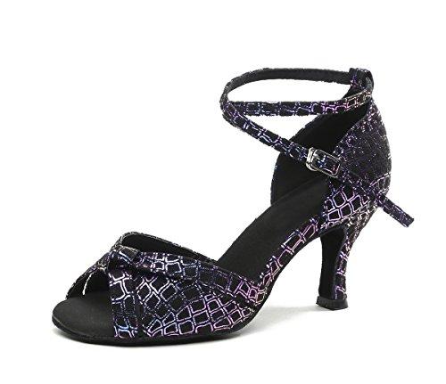 Minishion Gl244 Mujer's Peep Toe Salón Latino Sintético Tango Salsa Zapatos De Baile Fiesta De Boda Sandalias Prom Purple-7.5cm Talón