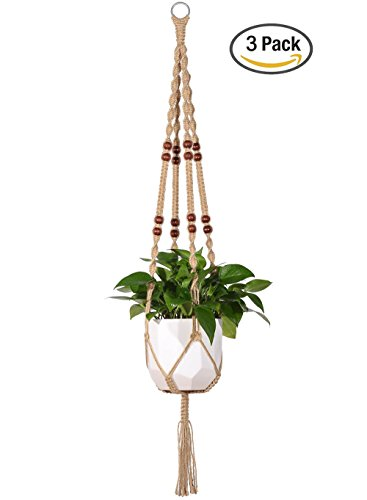 Mkono 3Pcs Macrame Plant Hanger Indoor Outdoor Hanging Planter Basket Jute Rope With Beads 4 Legs 48 Inch